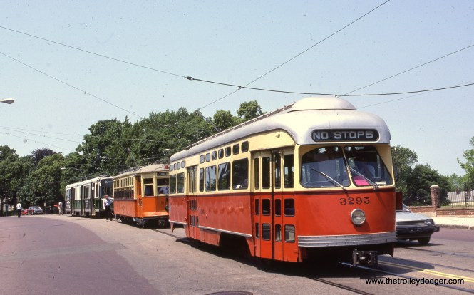 Three generations of Boston streetcars on a June 12, 1988 Watertown fantrip. That's a Type 5 car (5734) behind PCC 3295, with Boeing-Vertol LRV 3404 behind it. (Clark Frazier Photo)