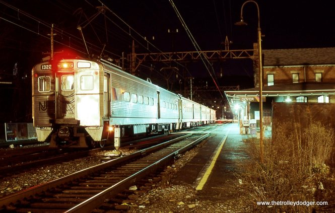 NJT Arrow III MU # 1322 is the lead car, the train is awaiting departure time to head east to Hoboken Terminal on December 15, 1991.