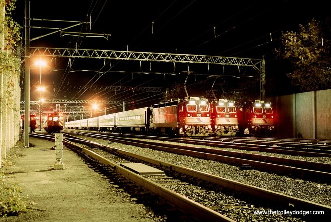 NJT ALP-44 locomotives in the yard at Long Branch NJ 11/7/92