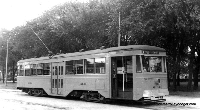 """Baltimore Peter Witt 6146. Don's Rail Photos says it was """"built by Brill in 1930 and retired in 1955."""" Sister car 6119 is at the Baltimore Streetcar Museum, while 6144 is at Seashore. These were some of the most modern cars around, prior to the PCCs."""