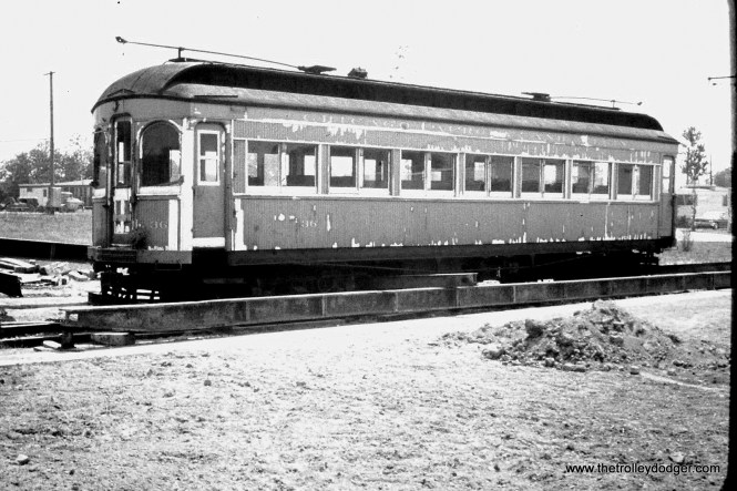 Chicago, Aurora & Elgin car 36, looking rather shopworn at Trolleyville USA in 1962. Now restored at the Illinois Railway Museum, this car is among those hear on our new Railroad Record Club tribute recording.