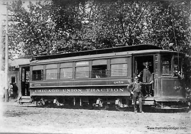 """Chicago Union Traction car 4858. According to Don's Rail Photos, """"These cars were built by St. Louis Car in 1903 and 1906 for Chicago Union Traction Co. They are similar to the Robertson design without the small windows. Cars of this series were converted to one man operation in later years and have a wide horizontal stripe on the front to denote this. Two were used for an experimental articulated train. A number of these cars were converted to sand and salt service and as flangers."""" This car was probably renumbered to CSL 1329 and thus would be part of the same series as 1374, which has been restored to operable condition at the Illinois Railway Museum. The 1374 is one of the cars heard on our new Railroad Record Club tribute."""