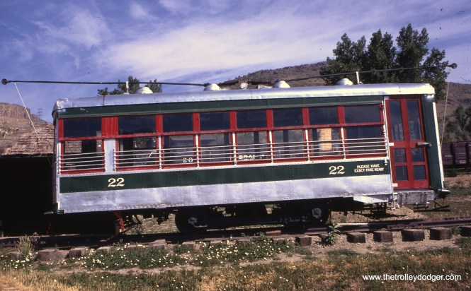 "According to Don's Rail Photos, ""22 was built by American Car Co in April 1919, #1184. It was retired in 1951 and sold to the Rocky Mountain Railroad Club in 1952. It was on static display at the Colorado Railroad Museum though 1997. It was leased to the Colorado Springs Transportation Society and presently being restored in the former Rock Island engine house. as Colorado Springs & Interurban Ry. 135."" It is shown here in September 1972."