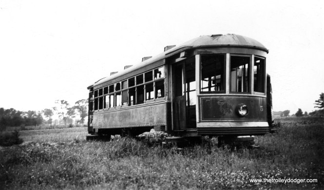 Evanston Railways car #5 after abandonment. Although this picture is undated, streetcar service was replaced by buses in 1935, so chances are this is the late 1930s. To the best of my knowledge, this was part of an order for 12 cars placed with the St. Louis Car Company in late 1913. The late James J. Buckley wrote a short (40 pages) book The Evanston Railway Company, published in 1958 as Bulletin #28 of the Electric Railway Historical Society. This has been long out-of-print, but it is now available as part of The Complete ERHS Collection, an E-book put out by the Central Electric Railfans' Association in 2014 (which I edited). The Diner Grill (at 1635 W. Irving Park Road in Chicago) is said to be built around the bodies of two Evanston streetcars.