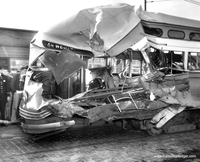"This looks like an even more serious accident. The caption from this November 15, 1954 photo reads, ""One person was killed and about 30 others injured here when this streetcar collided with a furniture truck on south Western Avenue. Dead man identified as James K. Siegler, 2534 W. 68th Street, a CTA bus driver who was a passenger in the streetcar."" I do not know which car this was, or whether it was ever repaired."