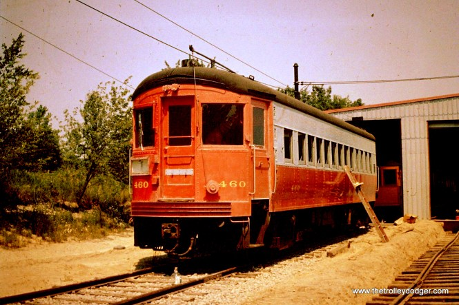 Chicago, Aurora & Elgin interurban car 460 at Trolleyville USA in July 1963. This was part of an order of 10 cars built by St. Louis Car Company in 1945-46. Brookins managed to save four of these cars.