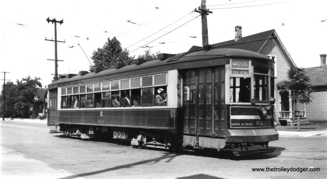 """CSL 6211 on the Hammond, Whiting and East Chicago (Indiana) route, which was jointly operated as a through-route with, logically enough, the Hammond, Whiting and East Chicago Railway. As the Shore Line Interurban Historical Society notes, """"Common ownership with the South Chicago City Railway Company brought through operation into Chicago as early as 1896. Similarly, Chicago cars ran to Hammond and East Chicago. However, each company advertised the service on its side of the state line as a local route, retaining the fares from that portion."""" Service ended in 1940. (Robert V. Mehlenbeck Photo, Joe L. Diaz Collection)"""