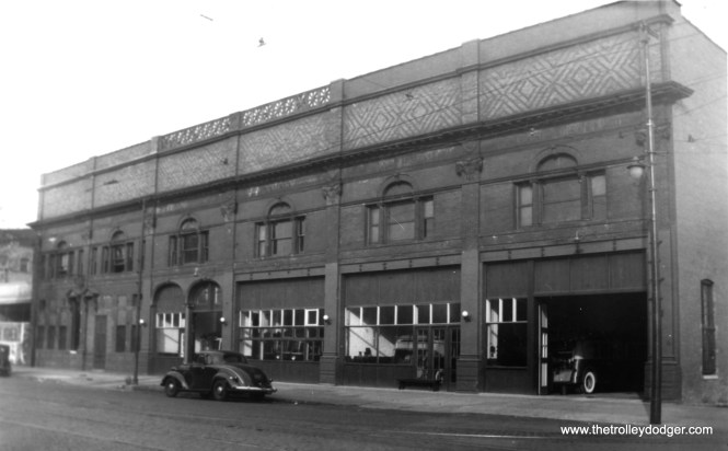 This is a circa 1940 view taken by Edward Frank, Jr. showing the old Edgewater car house. We previously posted a Fred J. Borchert photo showing a street railway post office car at this location, in Chicago Surface Lines Photos, Part One (November 3, 2015). Such services ended in 1915. According to www.chicagorailfan.com: CHICAGO NORTH SHORE STREET RAILWAY EDGEWATER 5847 N. Broadway (near Ardmore Ave.) Opened in 1893 Replaced by Devon car house in 1901 Used as Ardmore bus garage 1937-1950 Building remains standing, abandoned except for CTA substation within northwest corner. Chicago North Shore Street Railway Co. was sold in 1894 to North Chicago Electric Railway Co., and merged in 1899 into Chicago Consolidated Traction Co.