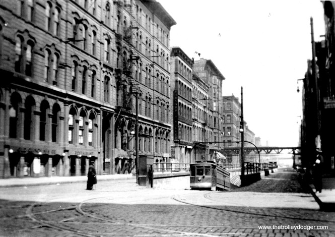 This is the old LaSalle Street streetcar tunnel, seen here north of Randolph. The tunnel was in use from 1871 until 1939, when it became an access point for construction of the Dearborn-Milwaukee subway. (Fred J. Borchert Photo, Edward Frank, Jr. Collection)