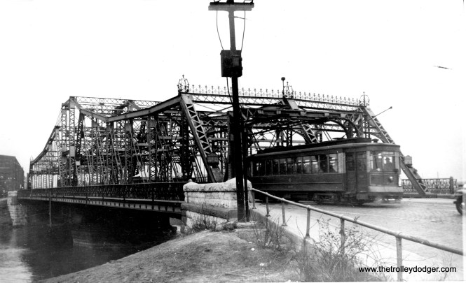 """Again, maybe one of our readers can help identify this bridge. Andre Kristopans: """"The second bridge photo is much harder to ID. However, notice that while the bridge is for lanes, the streetcar is on the """"wrong side"""", as both tracks are on the near half of the bridge!"""" Perhaps the bridge was expanded at some point, and the car tracks were left on the one side only. (Edward Frank, Jr. Photo)"""