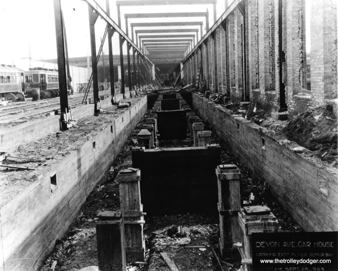 According to the caption on this Chicago Historical Society photo, we are looking east at Devon station on September 23, 1923. This is a new repair bay at teh west end of the new pit, after much of the building here was destroyed by fire in early 1922.
