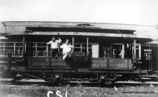 This, and the series of photos that follow, were taken between 1930 and 1932 by George Krambles at the Devon car house, where a lot of very old equipment (including single-truck streetcars) was stored. Since GK was born in 1915, he would have been in high school at this time. CSL often kept obsolete equipment for decades. Some of these cars were used for work service. Another reason for keeping them was their potential sale as assets, in case transit unification came to pass. The young man at left is unidentified. (George Krambles Photo, Edward Frank, Jr. Collection)
