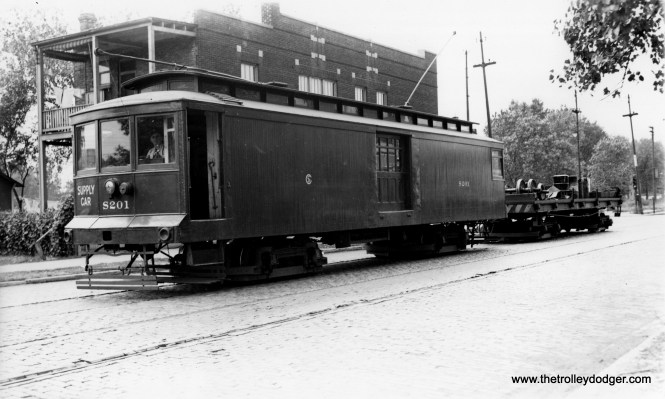 """CSL Supply Car S201. Don's Rail Photos: """"S201, supply car, was built by Chicago City Ry in 1908 as CCRy C45. It was renumbered S201 in 1913 and became CSL S201 in 1914. It was retired on September 27, 1956."""" (Joe L. Diaz Photo)"""