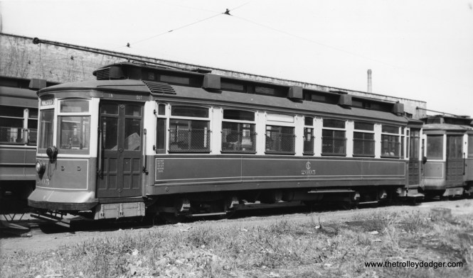 "CSL 2605, a Robertson Rebuild car. Don's Rail Photos: ""2605 was built by St Louis Car Co in 1901. It was stored at Devon Barn in 1948 and scrapped there in 1954."" (Joe L. Diaz Photo)"