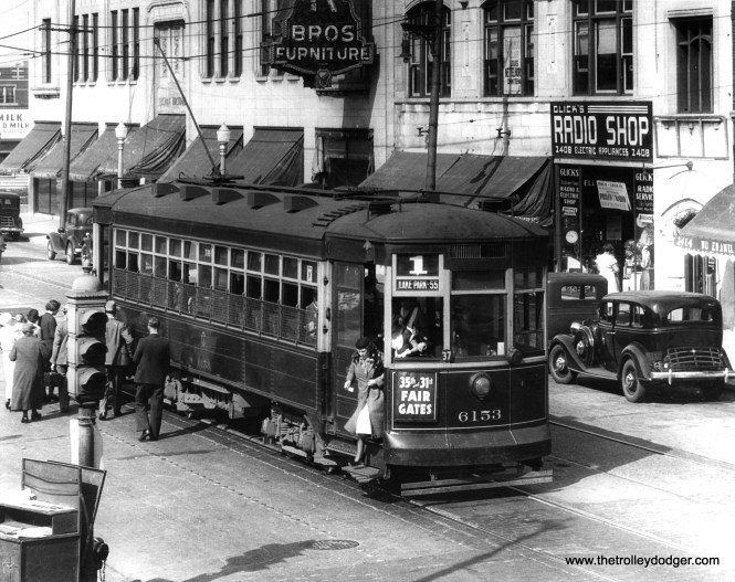 "CSL 6153, another Odd 17 car, circa 1933-34. Our regular reader M. E. has identified the location as being Devon, just west of Western. He adds, ""route 1 ran to Devon and Kedzie starting in 1932."" So, this car is heading east on Devon, which explains why it is signed for Lake Park and 55th. (Krambles-Peterson Archive)"