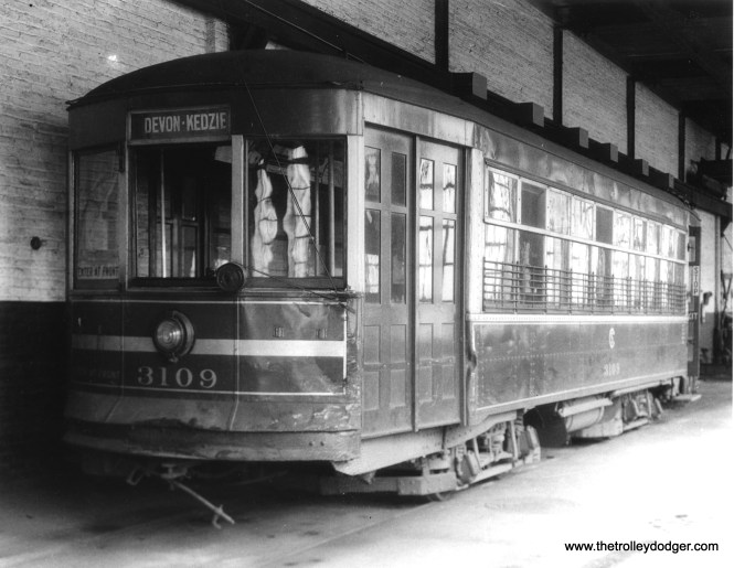 CSL 3109 at Devon station (car house). Not sure what those sheets are doing hanging in the windows. (Krambles-Peterson Archive)
