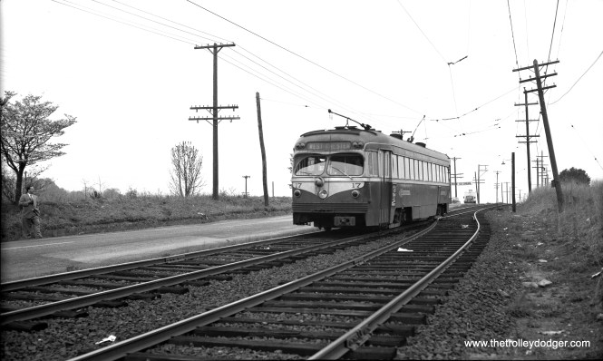 Car 17 at a passing siding along West Chester Pike on April 25, 1954.