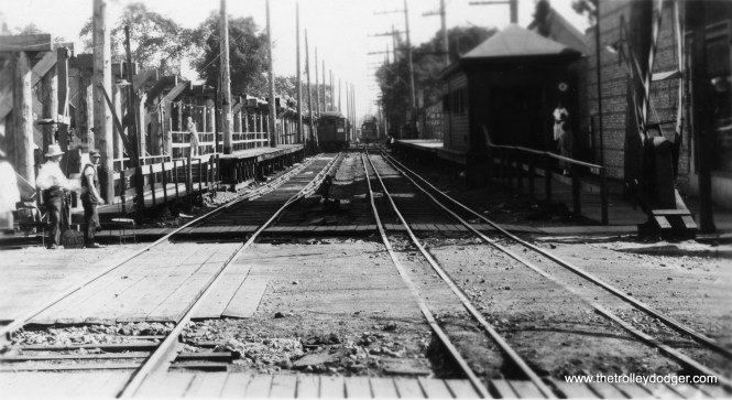 "This appears to show a grade separation project in Evanston. Brian M. Hicks: ""Noyes street looking south in the Fall of 1929."" (Allen T. Zagel Photo, George Trapp Collection)"