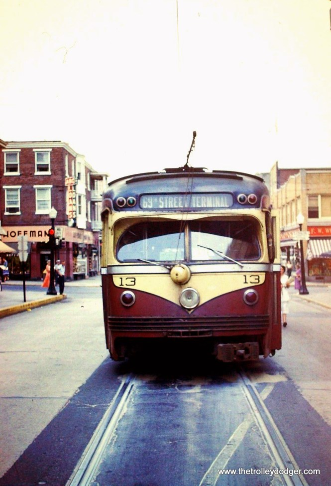 Double-ended Red Arrow 13 at the end of the line in West Chester (Gay and High Streets) circa 1954.