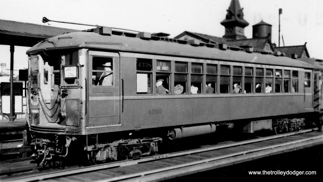 CRT 4338 heads up a Lake Street Local train somewhere on the west side. This photo is probably no later than 1943, since all the 4000s were shifted to the State Street subway then. (Allen T. Zagel Photo, George Trapp Collection)