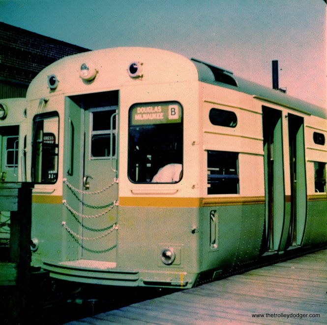 Brand new CTA single car unit 18 at Logan Square in 1959. (Robert Geis Photo, George Trapp Collection)