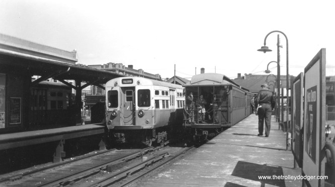 CTA 6000s and gate cars in the early 1950s at Lawrence and Kimball, the terminus for Ravenswood trains. (Allen T. Zagel Photo, George Trapp Collection)