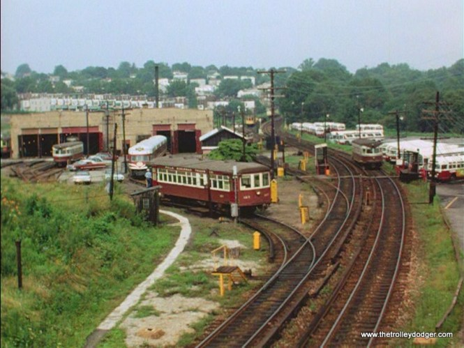 A Strafford car with a Liberty Liner (ex-North Shore Line Electroliner) behind it at 69th Street.