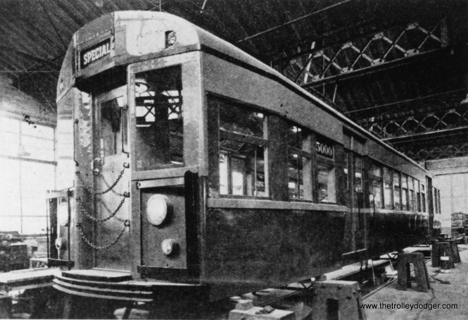 "In response to demands that the struggling Chicago Rapid Transit Company replace their aging fleet of wooden cars with modern ones, the company had a mock-up built for a proposed 5000-series car at Skokie Shops. This shows some influence from New York City cars. The 5001-5004 articulated cars that were eventually built in 1947-48 were patterned after the Brooklyn-Manhattan Transit ""Bluebirds,"" but styling from this mock-up does seem to be reflected in the 6000s that followed in 1950. (George Trapp Collection)"