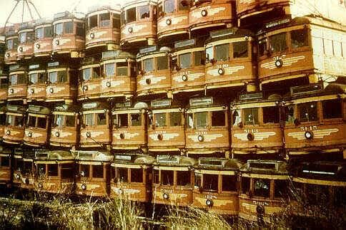 Pacific Electric red cars awaiting demolition on terminal island in Long Beach, CA.
