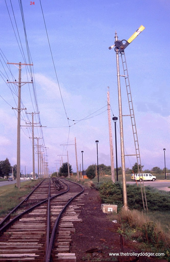 24. Steeplecab electric locomotives aren't the only ancient pieces of railroad equipment used on the Iowa Traction. In Mason City this old semaphore signal protects the IATR crossing of the Union Pacific Railroad. 8/26/06.