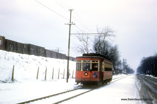 This wintry scene shows CTA red Pullman 636 on Cottage Grove near the 115th Street end of the line. The date is given as December 1952 but some might argue it should be earlier.