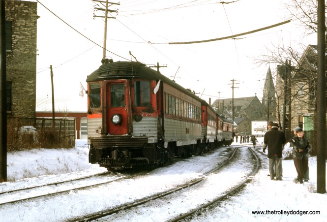 This photo of North Shore Line 774 plus 3 looks to have been taken where the line shifted from 5th to 6th Street in Milwaukee. The date is January 13, 1963, just eight days before service ended. (J. W. Vigrass Photo)