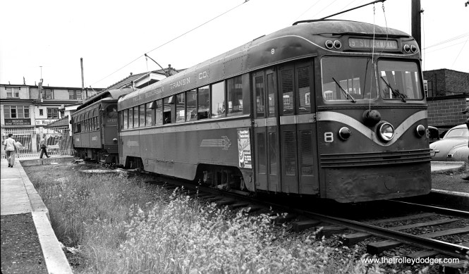 This picture shows Red Arrow Brilliner 8 and an older car at the end of the Ardmore branch on May 15, 1949. It looks like the older car is in fantrip service, while the Brilliner is the regular service car ahead of it. The Ardmore branch was replaced by buses in 1966.
