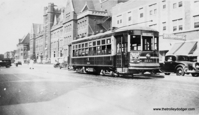 Here is an interesting photo of CSL one-man car 3110, taken on August 4, 1934. The location is Ashland and Irving Park Road, and the large building at rear is Lake View High School, where my mother graduated in 1946. Since this was two years before the north and south portions of Ashland were connected by a new bridge over the Chicago River, this is a North Ashland Shuttle car, running the two miles between Irving Park (4000 N.) and Fullerton (2400 N.). (Actually, the sign says the car is going to Clybourn, which is just south of Fullerton.) We ran another North Ashland Shuttle photo in our post Chicago Surface Lines Photos, Part Eleven (September 2, 2016). (Earl W. McLaughlin Photo)