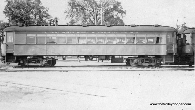 """Chicago, North Shore & Milwaukee dining car 417 at Highwood. Don's Rail Photos: """"417 were built by Cincinnati Car in June 1924, #2905 as dining car trailer. It was rebuilt as a tavern-lounge on November 8, 1940. It was out service by 1951, retired on December 31, 1955, and scrapped in 1959."""""""