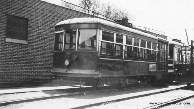 """Another rare photo. This is Aurora, Elgin & Fox River Electric """"Birney"""" city car #72 in May 1934. Caption: """"Color: Orange. 2 Motors. This system, which operated local cars in Aurora and Elgin, as well as an interurban line between those two cities, abandoned April 1, 1935."""" Actually, a small portion of the AE&FRE did survive in South Elgin as a freight line, which has now morphed into the Fox River trolley Museum. (Earl W. McLaughlin Photo)"""