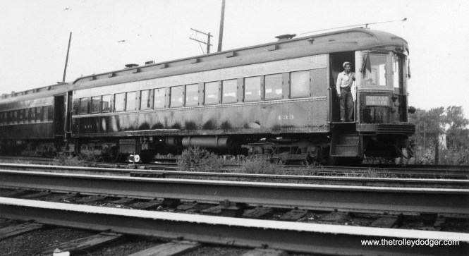 """Caption: """"Chicago, Aurora & Elgin 433, geared for 95 miles an hour."""" 433 was built by Cincinnati Car Co. in 1927. There is some debate as to just how fast CA&E cars ran. The general consensus is they could do at least 60 mph but that close proximity to nearby buildings might have inflated the """"illusion of speed"""" relative to, say, the North Shore Line, which was in more open areas."""