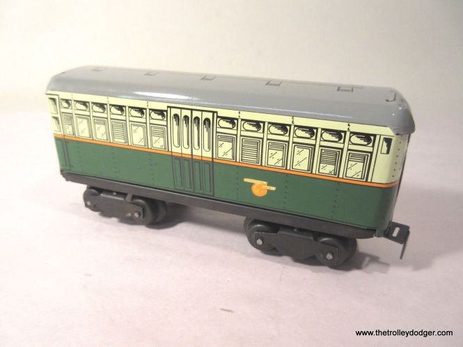 """This is one car from a three-car CTA """"4500s"""" powered train set that will actually operate on a layout and has sound effects and lights. This was obviously patterned after the 6000s but with only one set of """"blinker"""" doors."""