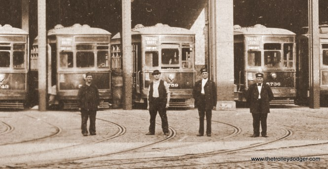 A close-up of four unidentified men in the photo. Presumably, all worked out of the Cottage Grove station.
