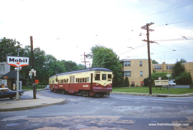 Here, we see Red Arrow car 66 heading up a two-car train on May 6, 1962. This is the Clifton-Aldan stop on the Sharon Hill line.