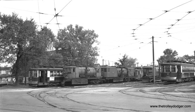 Here, we see the lineup at 71st and Ashland on May 23, 1953. From left to rigth, we have CTA 572, sprinklers D-210, D-212, D-203 and 504. (Bob Selle Photo)