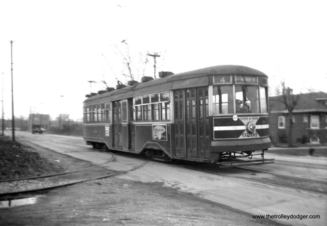CTA Sedan (Peter Witt) 6296 at Cottage Grove and 93rd on December 10, 1949. This was a short turn-- the usual end of route 4 was at 115th.