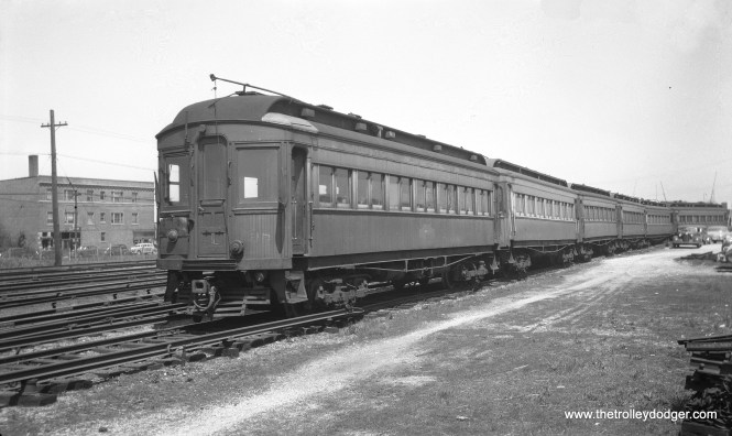 """CA&E 38 at the CTA Laramie Avenue Yards on May 17, 1948. Trackage west of here was owned by CA&E. Don's Rail Photos: """"38 was built by Stephenson in 1903. It was modernized in September 1939 and retired in 1959."""""""