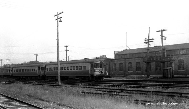 CA&E 458 at Wheaton on June 18, 1947. This was part of an order of 10 curved-sided cars built in 1945 by St. Louis Car Company. Some consider these the last standard interurban cars built.
