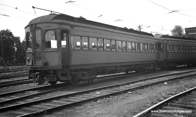 """CA&E 302 at the Wheaton Yard in July 1948. Don's Rail Photos: """"302 was built by Niles Car & Mfg Co in 1906. It was modernized in May 1940."""""""