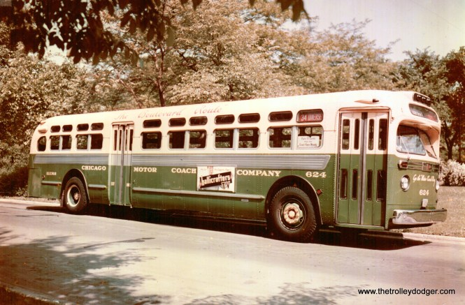CMC GM bus 624 on route 34 - Diversey in the early 1950s. The fare at this time was 13 cents.