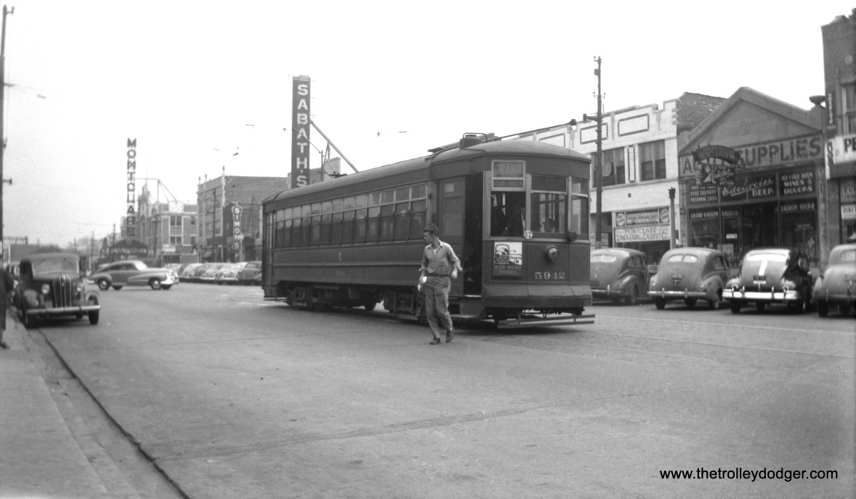 CSL 5942, built by J. G. Brill in 1914, discharges a passenger near Grand and Harlem in the 1940s. The old Montclare Theatre, which opened in 1929 and closed for good in 1984. Hugh Hefner grew up in this neighborhood and saw many films there. The building was demolished in 1996. The building to the right of the streetcar has been a shoe repair shop for many years, replacing the liquor store shown here.