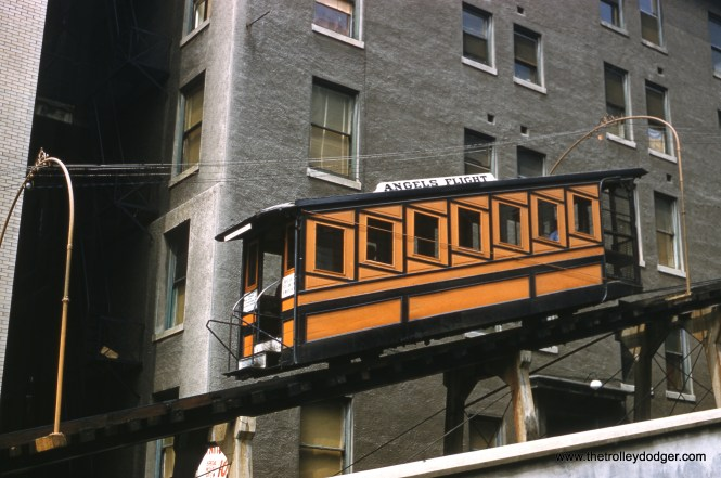 The Angel's Flight funicular on June 13, 1961. (George Basch Photo)