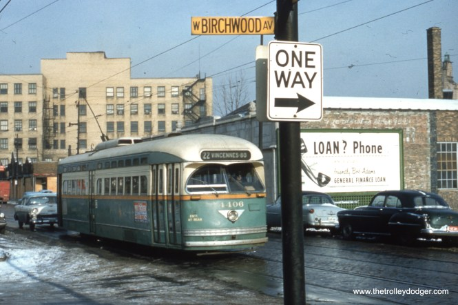 This mid-1950s view of PCC 4406 is at Clark and Birchwood, it having just left Howard Street, north end of Route 22.