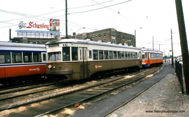 "SEPTA Brill Master Units 82 and 86 in May 1976. This may be the storage tracks near 69th Street Terminal, which are a short vestige of the old West Chester line. Kenneth Achtert: ""82 and 86 are indeed on the storage tracks on West Chester Pike west of 69th St. Terminal."""
